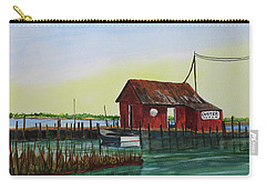 Carry-all Pouch featuring the painting Oyster Shack by Jack G Brauer