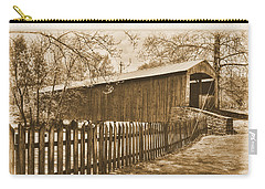 Pa Country Roads - Red Run Covered Bridge Near Muddy Creek No. 4a Sepia - Lancaster County Carry-all Pouch