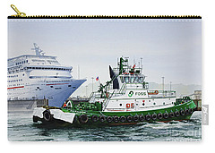 Carry-all Pouch featuring the painting Pacific Escort Cruise Ship Assist by James Williamson