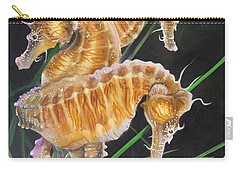Carry-all Pouch featuring the painting Pacific Lined Seahorse Trio by Phyllis Beiser