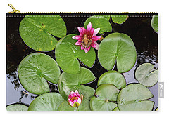 Pacific Tree Frog On Water Lily Flower Aerial View Carry-all Pouch