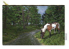 Paint Horse By The Forest Stream Carry-all Pouch by Jayne Wilson