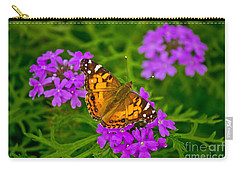 Painted Lady On Purple Verbena Carry-all Pouch