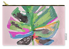 Carry-all Pouch featuring the mixed media Painted Palm Leaf 2- Art By Linda Woods by Linda Woods