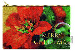 Painted Poinsettia Merry Christmas Carry-all Pouch by Sandy Moulder