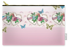 Painted Roses With Hearts Carry-all Pouch by Judith Cheng