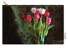 Carry-all Pouch featuring the photograph Painted Tulips by Joan Bertucci