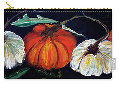Painterly Pumpkins On Black By Lisa Kaiser Carry-all Pouch