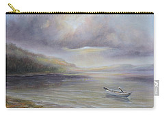 Carry-all Pouch featuring the painting Beach By Sruce Run Lake In New Jersey At Sunrise With A Boat by Katalin Luczay
