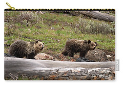 Carry-all Pouch featuring the photograph Pair Of Bears-signed by J L Woody Wooden