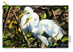 Pair Of Courting Great Egrets Carry-all Pouch