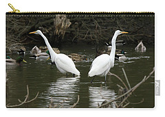 Carry-all Pouch featuring the photograph Pair Of Egrets by George Randy Bass