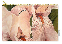 Carry-all Pouch featuring the painting Pair Of Peach Iris  by Laurie Rohner