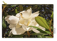Carry-all Pouch featuring the photograph Pair Of Sunlit Magnolia Flowers by MM Anderson