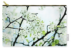 Carry-all Pouch featuring the photograph Pale Pear Blossom by Jessica Jenney