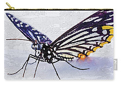 Carry-all Pouch featuring the digital art Pallete Knife Painting Blue Butterfly by PixBreak Art