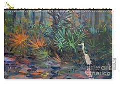 Carry-all Pouch featuring the painting Palm And Egret by Donald Maier