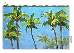 Carry-all Pouch featuring the painting Palm Tree Plein Air Painting by Karen Whitworth