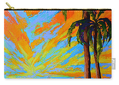 Carry-all Pouch featuring the painting Florida Palm Trees, Tropical Beach, Colorful Sunset Painting by Patricia Awapara