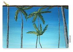 Carry-all Pouch featuring the painting Palm Trees On Blue by Anastasiya Malakhova