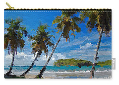 Carry-all Pouch featuring the digital art Palm Trees On Sandy Beach by Anthony Fishburne