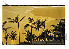 Carry-all Pouch featuring the photograph Palm Trees On Sunset Key At Sunset by Bob Slitzan