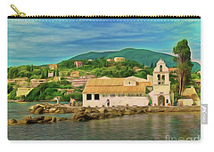 Carry-all Pouch featuring the photograph Panagia Vlacherna Church - Pontikonisi - Corfu by Leigh Kemp