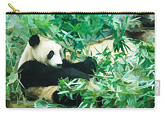 Carry-all Pouch featuring the painting Panda 1 by Lanjee Chee