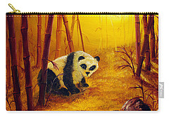 Panda In Sunset Bamboo Carry-all Pouch by Laura Iverson