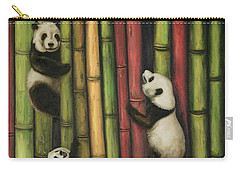 Pandas Climbing Bamboo Carry-all Pouch by Leah Saulnier The Painting Maniac