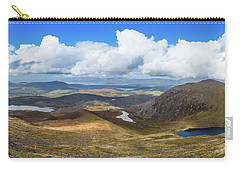 Carry-all Pouch featuring the photograph Panorama Of Valleys And Mountains In County Kerry On A Summer Da by Semmick Photo