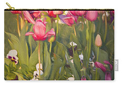 Pansies And Tulips Carry-all Pouch by Lana Trussell
