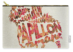 Carry-all Pouch featuring the painting Papillon Dog Watercolor Painting / Typographic Art by Ayse and Deniz