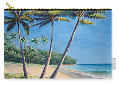 Tropical Paradise Landscape - Hawaii Beach And Palms Painting Carry-all Pouch