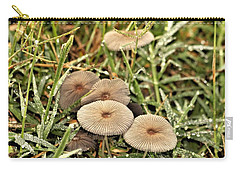 Carry-all Pouch featuring the photograph Parasol Mushrooms And Morning Dew by Sheila Brown