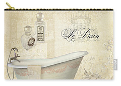 Parchment Paris - Le Bain Or The Bath Chandelier And Tub With Roses Carry-all Pouch by Audrey Jeanne Roberts