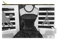 Carry-all Pouch featuring the photograph Paris Ballerina Costume Black And White French Decor - Parisian Ballet Art Black And White Art Deco by Kathy Fornal