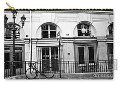 Carry-all Pouch featuring the photograph Paris Bicycle Street Lanterns Architecture Black And White Art Deco - Paris Black White Home Decor by Kathy Fornal