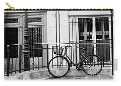 Carry-all Pouch featuring the photograph Paris Black And White Architecture Windows Street Lanterns Bicycle Print - Paris Street Lanterns by Kathy Fornal