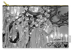 Carry-all Pouch featuring the photograph Paris Black And White Crystal Chandelier Mirrored Wall Decor -parisian Black White Chandelier Prints by Kathy Fornal