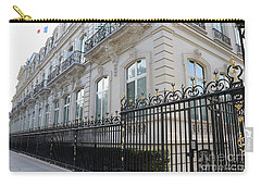 Carry-all Pouch featuring the photograph Paris Black Iron Ornate Gate To Parc Monceau - Parisian Gates  by Kathy Fornal