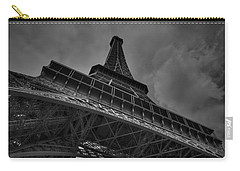 Carry-all Pouch featuring the photograph Paris - Eiffel Tower 001 Bw by Lance Vaughn