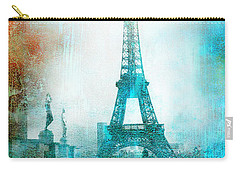 Paris Eiffel Tower Aqua Impressionistic Abstract Carry-all Pouch