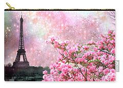 Paris Eiffel Tower Cherry Blossoms - Paris Spring Eiffel Tower Pink Blossoms  Carry-all Pouch by Kathy Fornal