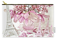 Carry-all Pouch featuring the photograph Paris Eiffel Tower Spring Magnolia Flower Blossoms - Paris Pink White Spring Blossoms  by Kathy Fornal