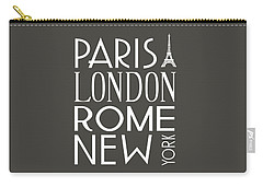 Paris, London, Rome And New York Pillow Carry-all Pouch by Jaime Friedman