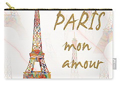Carry-all Pouch featuring the painting Paris Mon Amour Mixed Media by Georgeta Blanaru