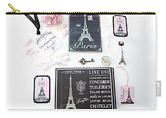 Carry-all Pouch featuring the photograph Paris Pink Black French Script Wall Decor Art, Paris Print Collection  - Parisian Pink Black Decor   by Kathy Fornal