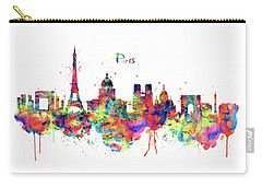 Carry-all Pouch featuring the mixed media Paris Skyline 2 by Marian Voicu