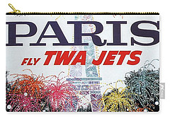 Paris - Twa Jets - Trans World Airlines - Eiffel Tower - Retro Travel Poster - Vintage Poster Carry-all Pouch